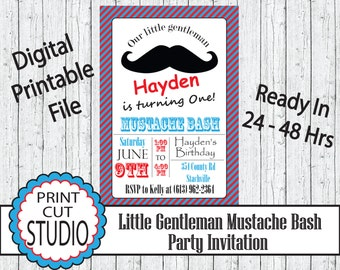 Little Gentleman Mustache Bash Party Invitation Personalized Printable Digital File - Mustache Bash Turquoise, Red & Black Theme
