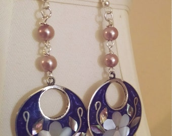 Upcycled Floral Abalone Earrings