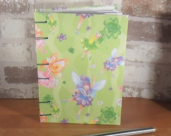 Notebook A6 - fairies light green / / journal / / memory / / gift for you