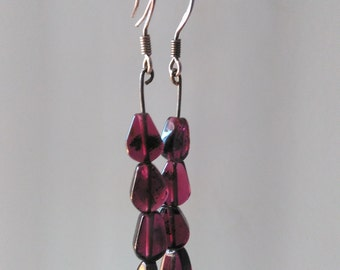 Earrings Garnet ore Teardrop
