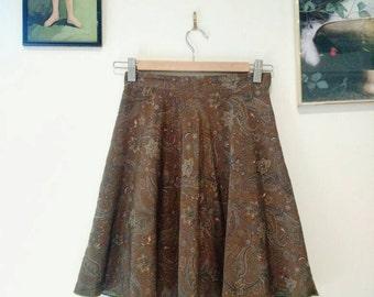 Vintage paisley high waisted skirt