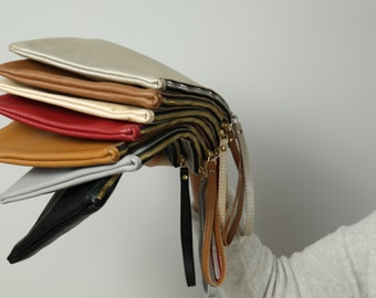 LEATHER iPad CASE - Leather Pouch, Italian Leather Clutch,  Oversize Leather Clutch, Wrist Strap - PARIS Clutch -