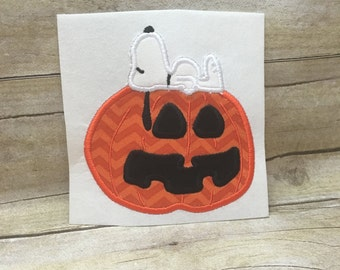 Pumpkin Applique Design. Charlie Brown Pumpkin Design, Snoopy Pumpkin Design