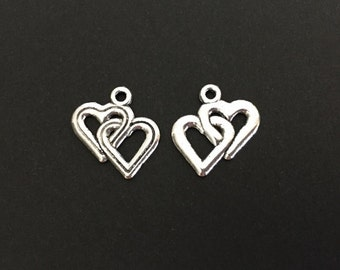 Antique Silver Heart Charms. Silver Plated Double Heart Pendants. Silver Finished Interlocking Heart Charms.. Handmade Jewelry Supplies.
