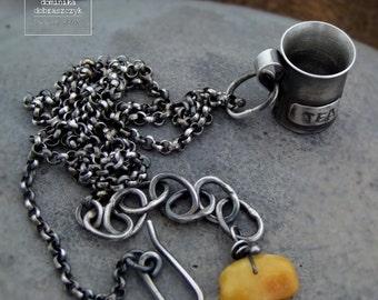 Raw sterling silver necklace, tea necklace, tea mug pendant, artisan silver necklace, cup of tea silver pendant, raw silver, tea pendant