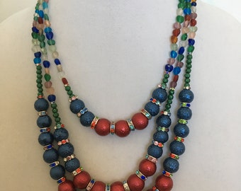 Multi Color 3 Strand Beaded Necklace