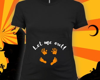 Let Me Out maternity tee - maternity halloween t-shirt, pregnant halloween shirt, maternity costume, pregnant costume, mom to be - CCB-264