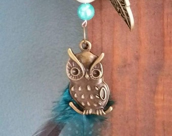 Owl and feather necklace