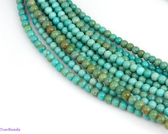 "16"" Full Strand 4mm Natural Turquoise Round Smooth Polished Beads, Gemstone Beads, High Quality OV33"