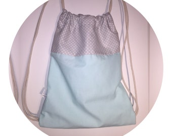 Drawstring Backpack with Zipper Pocket / blue and grey