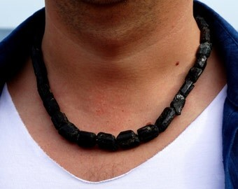 Mens necklace Black tourmaline necklace Raw tourmaline Black stone necklace Black necklace for men Chip necklace Mens Gift for men