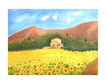 Watercolor Painting Print of Original landscape sunflower field villa country