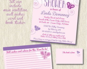 Butterfly baby shower invitation, printable, digital, baby girl, butterflies, pink, purple