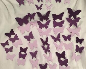 49 Die Cut Butterflies From Purple Card Stock DC004