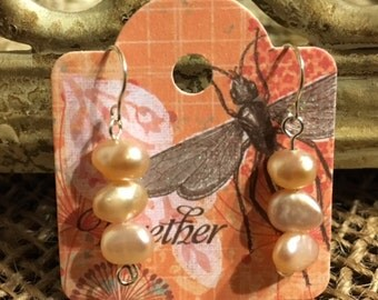 Trio of Freshwater Pearls Sterling Silver Earrings