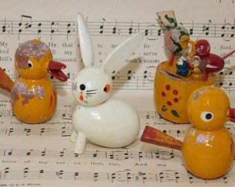 Vintage Painted Wood Miniature Bunny & Bird Decorations