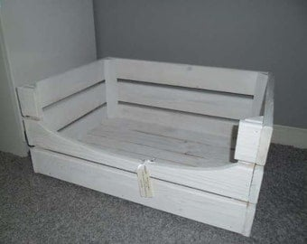 Modern Whitewash Rustic Pet Dog Cat Bed Large Wooden