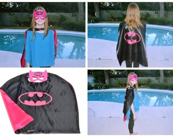 Batgirl Cape and Mask - Kids and Adult Superhero Costume. Great for Child Toddler Birthday Party Outfit. Personalized Name available.