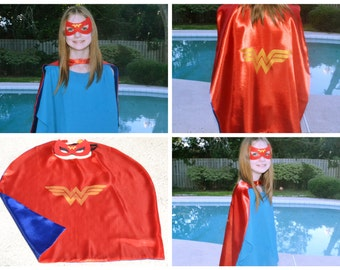 Wonder Woman Cape and Mask - Kids Superhero Costume. Great for Child Toddler Birthday Party Outfit. Personalized Name available.