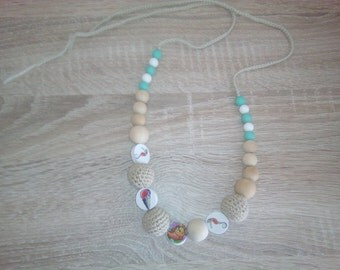 Nursing necklace, crochet teething necklace