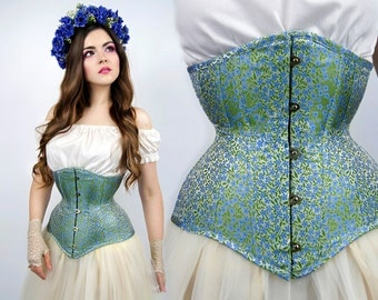 Underbust real corset forget me not baby blue waist training tight lacing wedding romantic goth steel bones flowers meadow