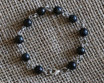 Black Tiger's-eye Bracelet-silver