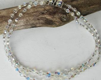 Vintage 50s Aurora Borealis Necklace Double Strang FREE UK DELIVERY
