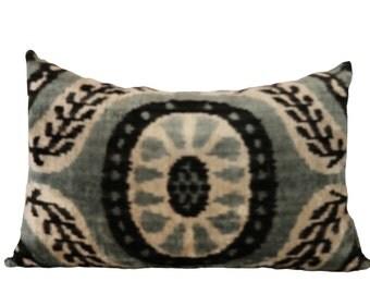 Reversible Velvet Ikat Pillow