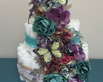 Three Tier Flower Diaper Cake with Buttrfly Decoration
