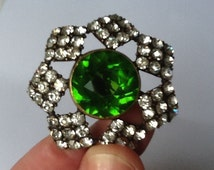 Stunning Faux Emerald & Diamonte Brooch, Fabulous Vintage Costume Jewelry, Gorgeous Green Glass with 7 square sets of Diamonte surrounding.
