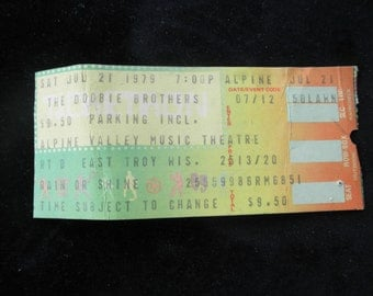 1979 Doobie Brothers Concert Ticket  Alpine Valley Music Theatre Collectible Rock n Roll Band