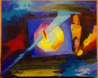 "Painting. Oil on canvas. 45 cm*60 cm Abstract painting. Name of the work ""Courage."""