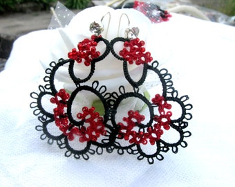 Tatting Lace earrings handmade  jewelry
