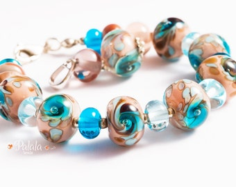 Handmade Lampwork Beads and Sterling Silver Set of Bracelet and Pendant