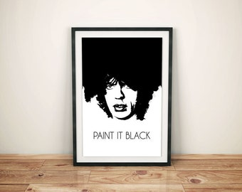 "Mick Jagger Black & White ""Paint It Black"" Rolling Stones Poster - Music Poster - Poster Print - Wall Art - Perfect Gift"