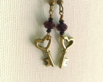 Tiny Purple key dangle earrings