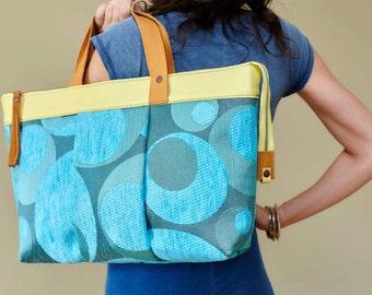 "Tasche, Handtasche, Designtasche, Bag, Shoulder Bag, Shopping Bag, Design-Bag, Leatherbag, Einzelstück,Unikat aus Serie ""legrand"" - blau"