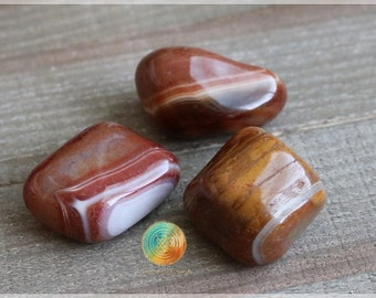 CARNELIAN Tumbled Gemstone : Set of 3, Carnelian Crystal, Carnelian Stone, Tumbled Carnelian, Carnelian Gemstone, Carnelian PROTECTION STONE