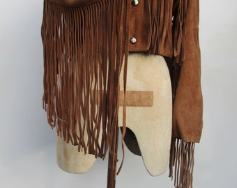 Tan Suede Cropped Leather Tassle Jacket
