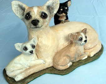 SOLD Paper Mache sculpture of a Chihuahua mum and pups SOLD