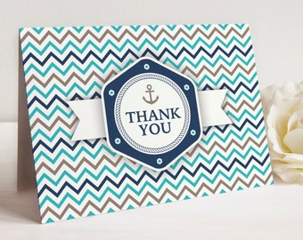Nautical Theme Thank You Notes, Set of 10 Cards with Envelopes