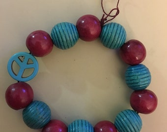 Aqua and Red Wooden Beads Bracelet