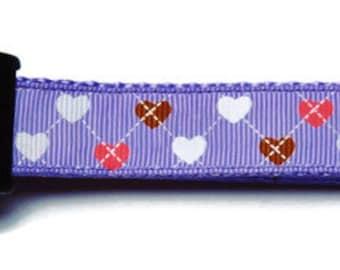 Medium Purple Country Hearts Dog Collar