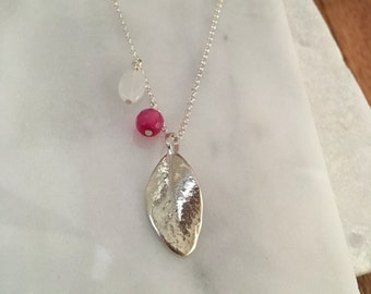 Sterling silver leaf and agate on chain.