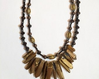 Gold Stone Layered Necklace