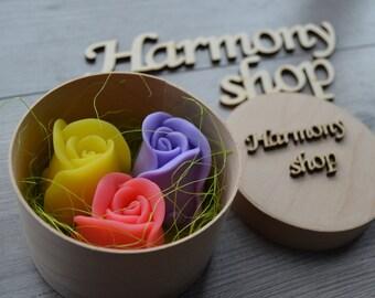 Set of 3 Handmade Soap Roses, All Natural Soap, Vegan Soap, Handmade Soap, Gift For Her, Summer gift