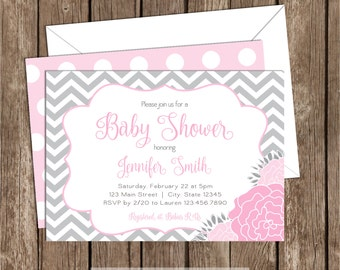Soft Pink and Gray Baby Shower Invitation, Floral, Chevron Baby Shower, Invite, Printable, baby, girl, 033