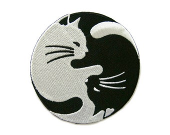 Black & White Cat Yin Yang Peace Sign Symbol Embroidered Applique Iron on Patch 8 cm. x 8 cm.