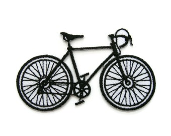 Bicycle Black & White Embroidered Applique Iron on Patch 8.5 cm. x 5 cm.