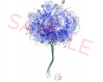 Blue flower - A4 print